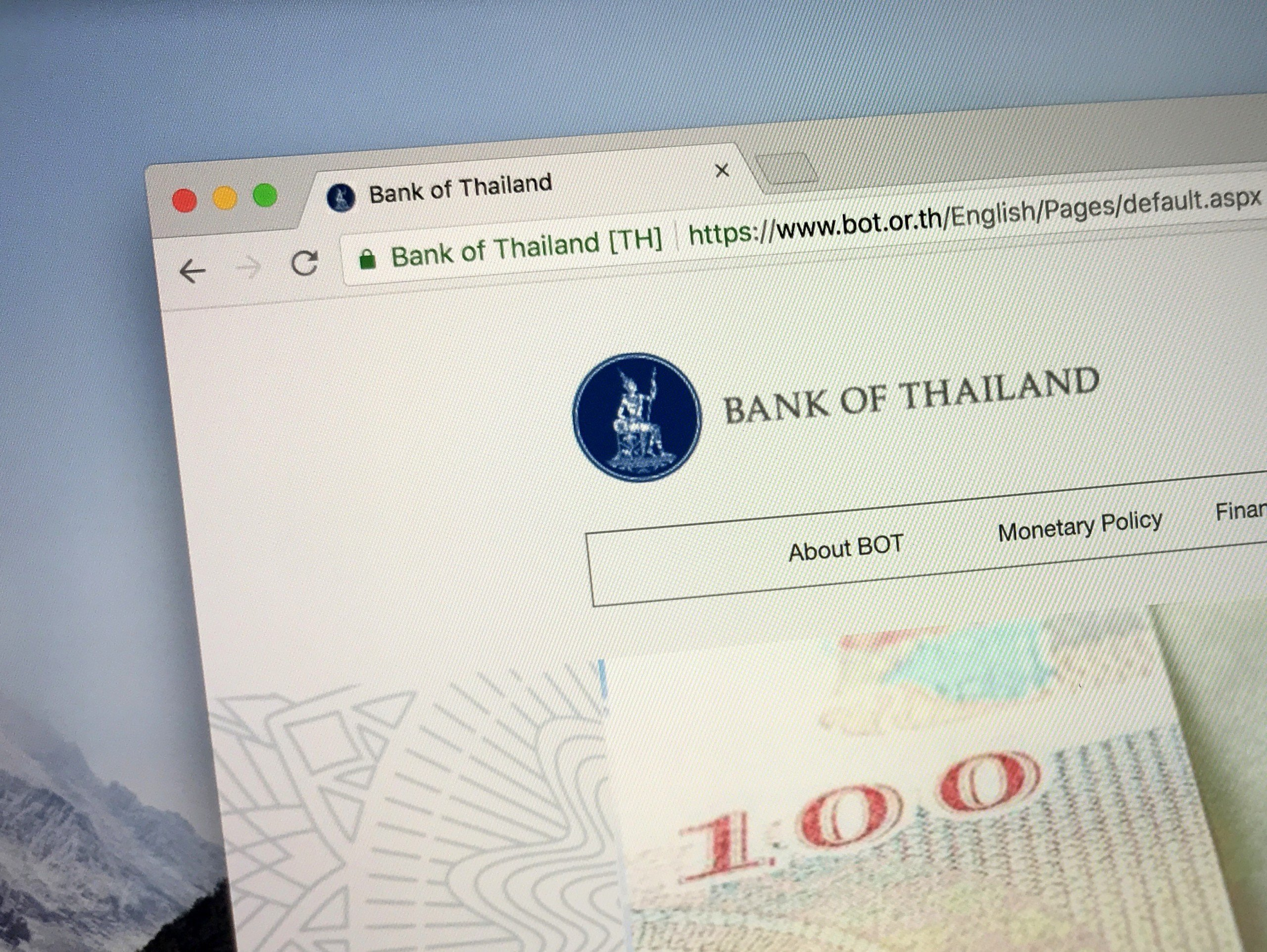 The central bank governor selection page on bank of thailand website