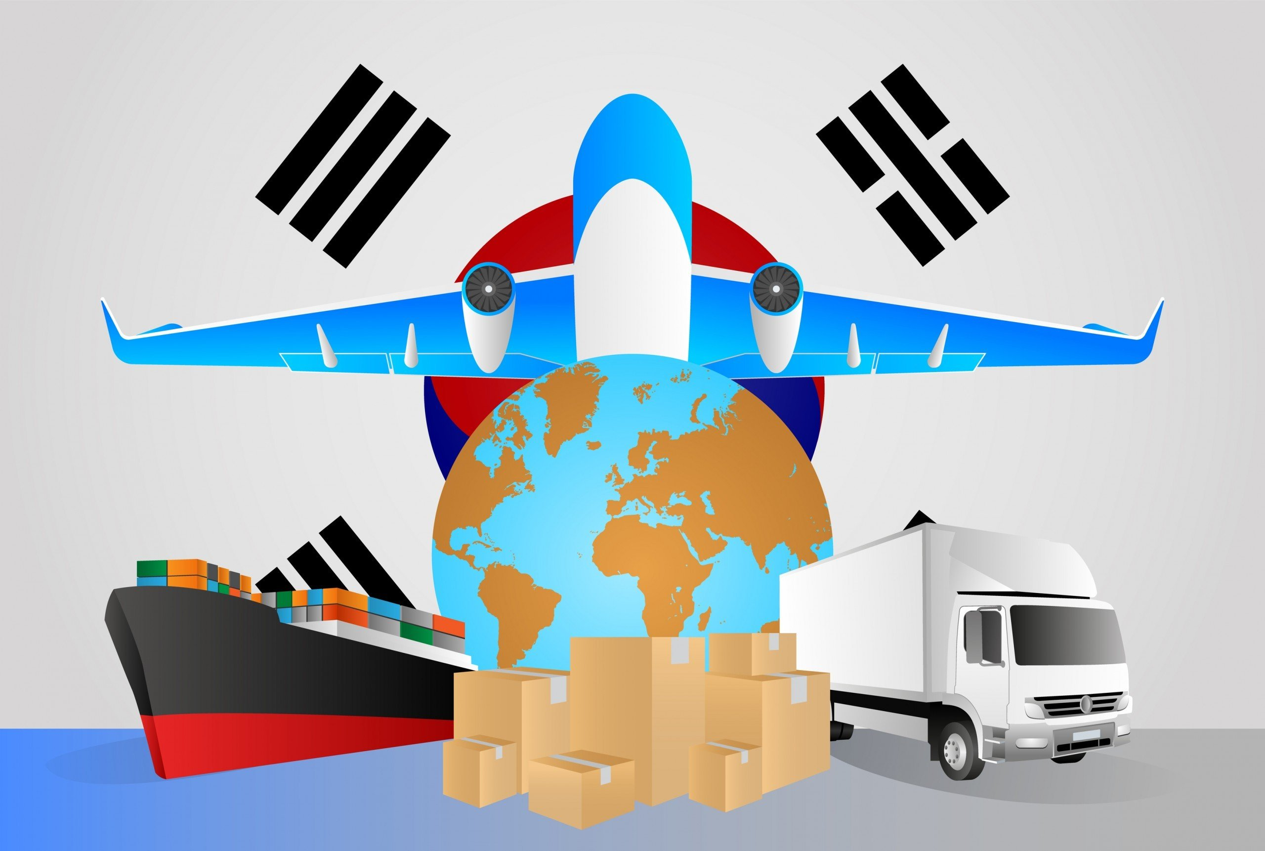 South Korea Logistics industry cartoon drawing