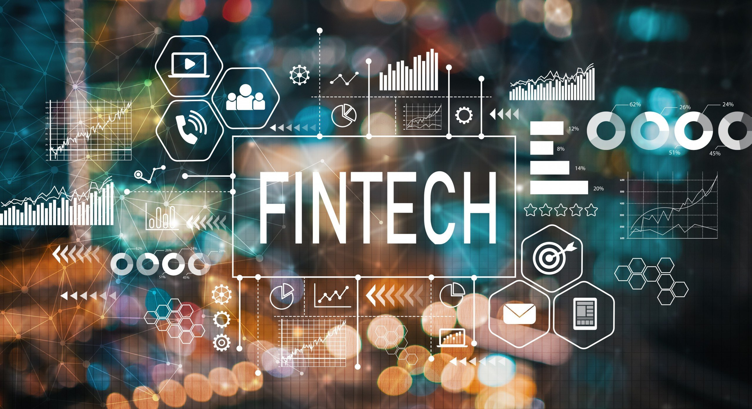 Fintech abstract diagram with bokeh lights in background
